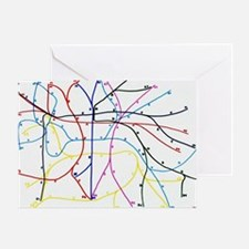Imaginary Subway network Greeting Card