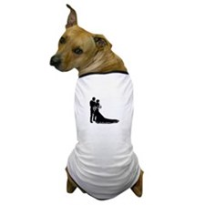 Wedding Bride Groom Silhouette Dog T-Shirt