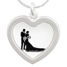 Wedding Bride Groom Silhouette Necklaces