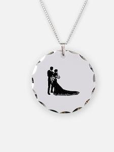 Wedding Bride Groom Silhouette Necklace