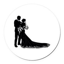 Wedding Bride Groom Silhouette Round Car Magnet