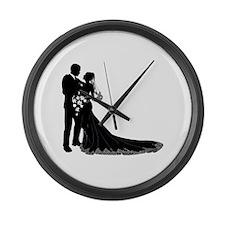 Wedding Bride Groom Silhouette Large Wall Clock