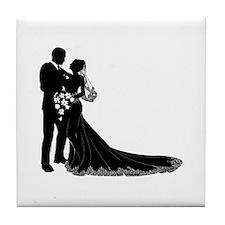 Wedding Bride Groom Silhouette Tile Coaster