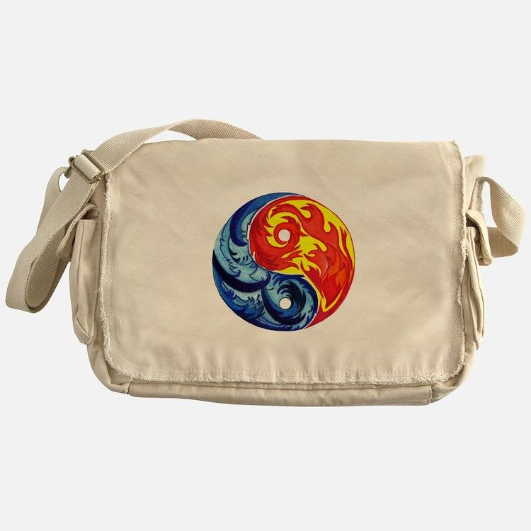Yin-Yang Fire and Ice Messenger Bag