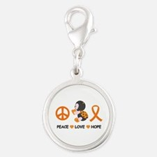 Ladybug Peace Love Hope Silver Round Charm
