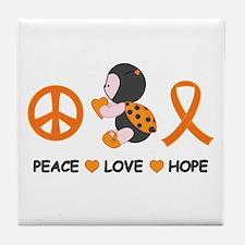 Ladybug Peace Love Hope Tile Coaster