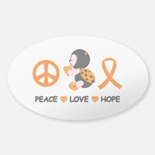 Ladybug Peace Love Hope Sticker (Oval)