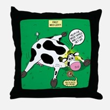 First Moo-lert Throw Pillow