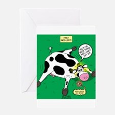 First Moo-lert Greeting Card