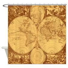 Exquisite Antique Atlas Map Shower Curtain