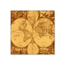 Exquisite Antique Atlas Map Sticker