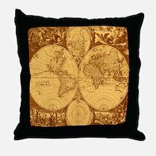 Exquisite Antique Atlas Map Throw Pillow