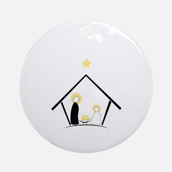 Baby In Manger Ornament (Round)