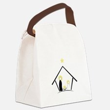 Baby In Manger Canvas Lunch Bag