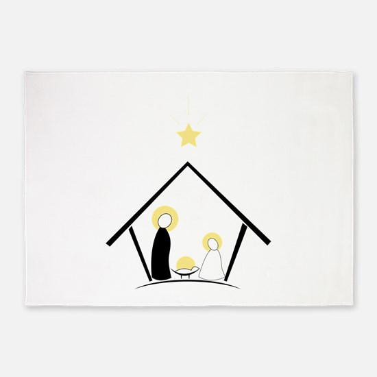 Baby In Manger 5'x7'Area Rug