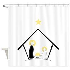 Baby In Manger Shower Curtain