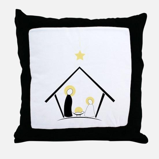 Baby In Manger Throw Pillow