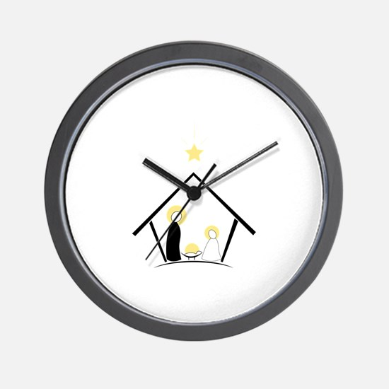 Baby In Manger Wall Clock