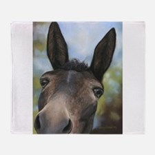 Brown Mule Art by Dawn Secord Throw Blanket