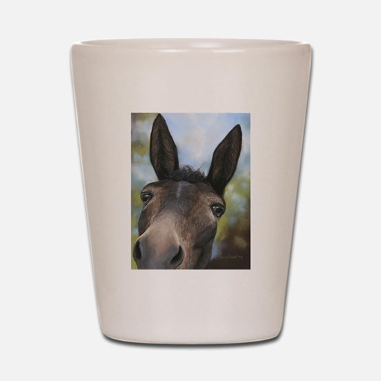 Brown Mule Art by Dawn Secord Shot Glass