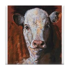 Hereford Calf by Dawn Secord Tile Coaster