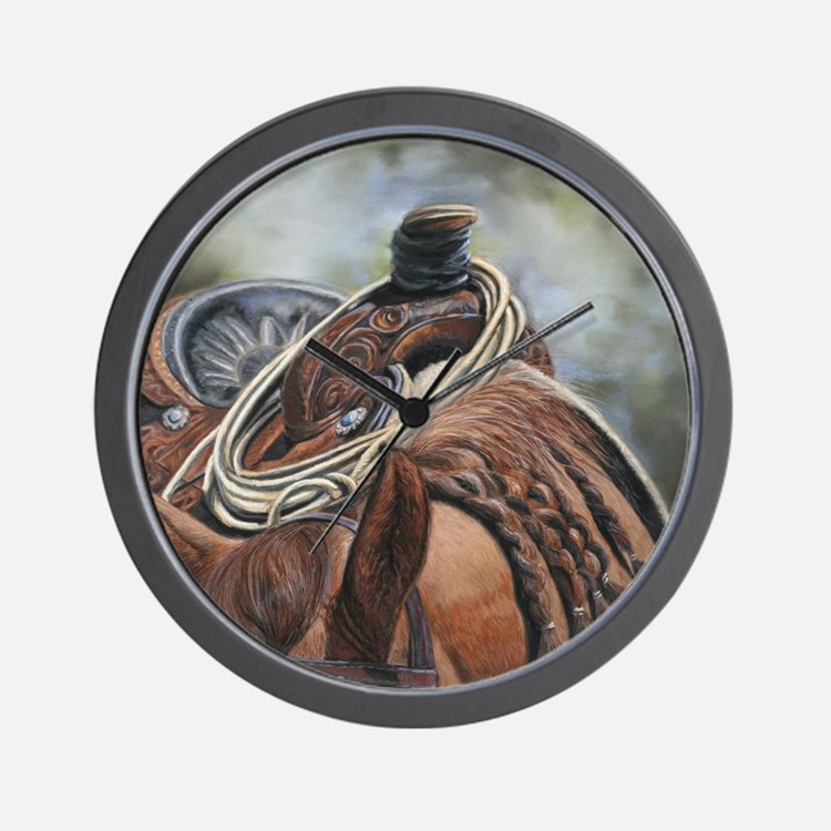 Roping Horse by Dawn Secord Wall Clock