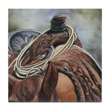 Roping Horse by Dawn Secord Tile Coaster