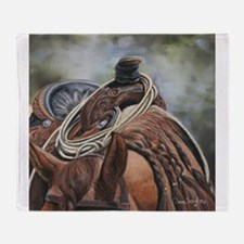 Roping Horse by Dawn Secord Throw Blanket