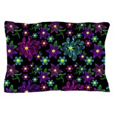 Glowing Linear Floral Pattern Pillow Case