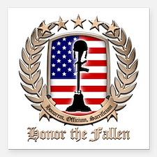 "Honor the Fallen – Crest Square Car Magnet 3"" x 3"""