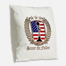 Honor the Fallen – Crest Burlap Throw Pillow