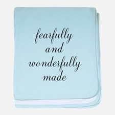 Fearfully and Wonderfully Made Script baby blanket