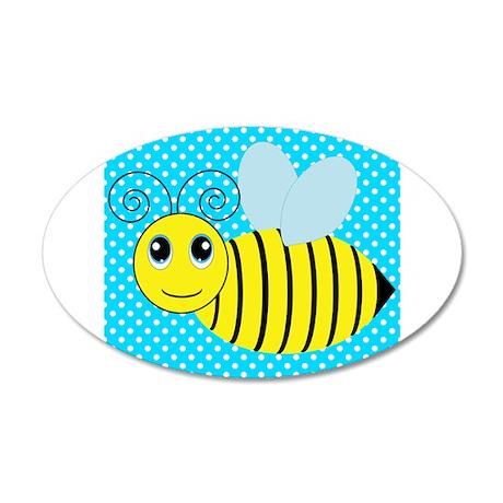 Honey Bee on Teal Polka Dots Wall Decal
