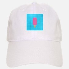 Pink Popsicle on Teal Polka Dots Baseball Baseball Baseball Cap