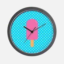 Pink Popsicle on Teal Polka Dots Wall Clock