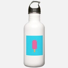 Pink Popsicle on Teal Polka Dots Water Bottle