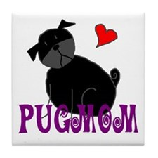 Black StickPugmom Tile Coaster