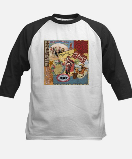 Vintage Western cowgirl collage Baseball Jersey