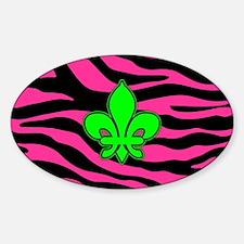 HOT PINK ZEBRA GREEN FLEUR DE LIS Decal