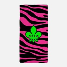 HOT PINK ZEBRA GREEN FLEUR DE LIS Beach Towel