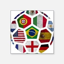 "Cute Soccer Square Sticker 3"" x 3"""