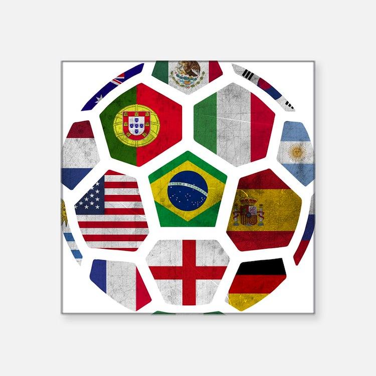 "Cute World cup 2014 Square Sticker 3"" x 3"""
