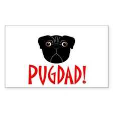 Black Pugdad Rectangle Decal