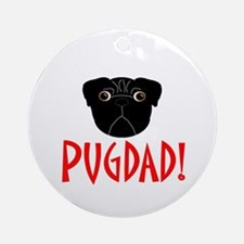 Black Pugdad Ornament (Round)