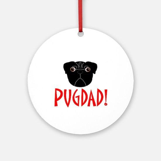 Black Pugdad Ornament (Round)