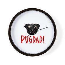 Black Pugdad Wall Clock