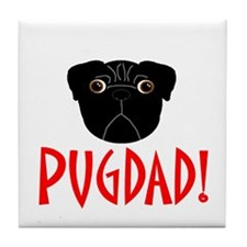 Black Pugdad Tile Coaster