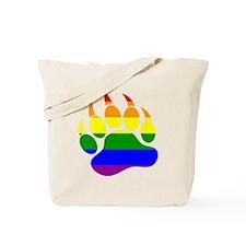 Gay Bear Pride Rainbow Flag Bear Paw Tote Bag