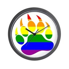 Gay Bear Pride Rainbow Flag Bear Paw Wall Clock
