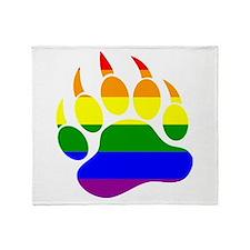 Gay Bear Pride Rainbow Flag Bear Paw Throw Blanket